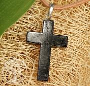 Schwarzer Turmalin Stein Kreuz Anhänger Silber 925 Schörl 30mm