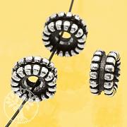 Silberperlen 925er schwarz oxidiert Doppelrad Sterlingsilber 925 7x4mm