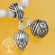 Silberperle Charm Lotus mit Glocke Sterling Silber 925 Länge 25mm