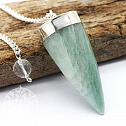 Aventurine gemstone pendulum with metal frame and rock crystal bead 40mm