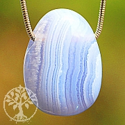 Chalcedon Blue Lace Agate Tumbled Stone Pendant 33/27mm