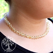 Citrin Kugel Halskette facettiert mit echt Silberverschluss 45cm