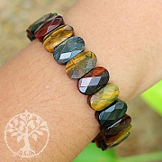 Tiger Eye Bracelet Oval Diamond 14mm