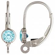 Klappbrisur Silber 925 mit facettiertem hellblauen Topas andere Ohrring Teile anhängbar