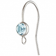 Silver Bezel Ear Wire with facetted blue Topaz Silver 925