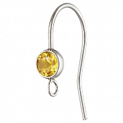 Silver Bezel Ear Wire with facetted Citrine Silver 925