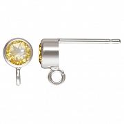 Ohrstecker Silber 925 mit facettiertem Citrin andere Ohrring Teile anhängbar