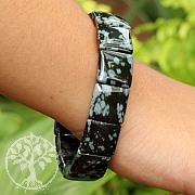 Schneflocken Obsidian Schwarzes Edelsteine Armband 15x15mm