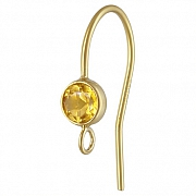 Gold Bezel Ear Wire with facetted blue Citrine Goldfilled 14K 1/20