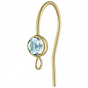 Gold Bezel Ear Wire with facetted blue Topaz Goldfilled 14K 1/20