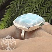 Larimar Silberring Ring 925 Rechteckiger Edelstein Leichte Ausführung