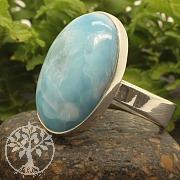 Larimar Ring Silberring Verstellbare Ringgrösse 925