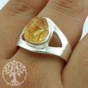Citrine Silver Ring Sterling silver 925 Size 60