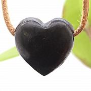 Schwarzes Herz Schungit Stein Anhänger Belly 25x22mm