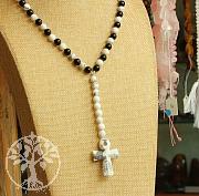 Schwarz-Weiß Halskette mit Kreuz Obsidian Magnesit