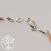 Lederbandverschluss Set, zum Kleben mit Verschluss für 4mm dickes Lederband 925er Silber