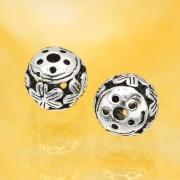 Silberperle Oxidierte Blume Silber Sterlingsilber 925 7mm