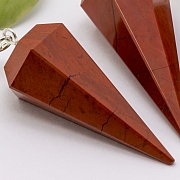 Roter Jaspis Edelstein Pendel mit Bergkristallperle 37mm