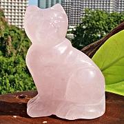 Rose Quartz Stone Carving Cat 77 mm