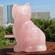 Rose Quartz Stone Carving Cat 74 mm