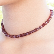 Garnet Necklace Stone Square Shape 4X4 mm