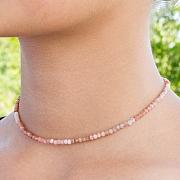 Pinkopal Halskette 45cm facettierte Pink Opal Edelstein Perlen 3mm