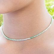 Chrysopras Halskette 45cm Stein Runde Form Diamanten 3 mm