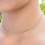 Peridot Halskette Stein Runde Form Diamanten 2 mm