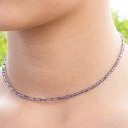 Tansanit Halskette Stein Runde Form Diamanten 2 mm