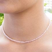 Rosenquarz Halskette Stein Runde Form Diamanten 3 mm