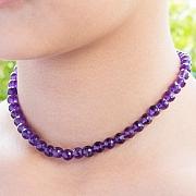 Amethyst Halskette 45cm Steinkette Kugel Perlen facettiert 5mm