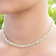 Grüner Prehnit Halskette Edelstein Perlen 5 mm.