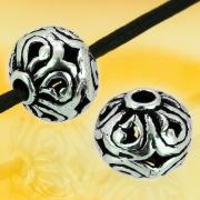 Silber Perlen Blume rund flach Sterling Silber 925 8x7mm