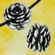 Silber Perlen Rose Blüte / Zapfen Sterling Silber 925 13x10mm
