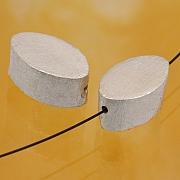 Silberperle Oval gebürstetem Sterlingsilber 925 15x9mm