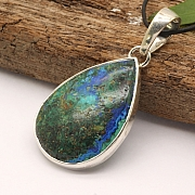 Azurite Malachit Drop Pendant With Sterling Silver 925 37x23mm