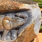 Dumortierite Elephant Carving unique  ca.100x80 mm