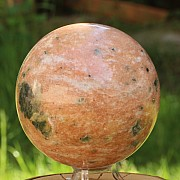 Stone sphere big orange fire calcite