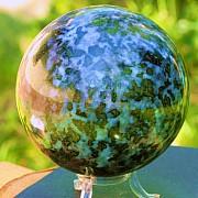 Gabbro Kugel ca. 80mm Blau schwarze Steinkugel