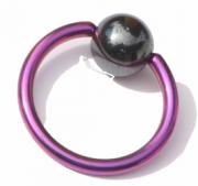 Titanium Klemmkugelring Lila Pink Standard 1,6mm Piercingring