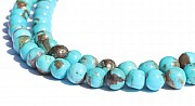 Turquoise bead ball A quality with matrix 80% round natural pearl strand