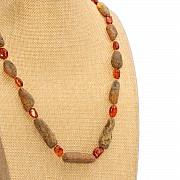 Amber Rough stone necklace collier 56cm