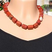 Roter Jaspis Kette Facettierte Nugget Perlen Karabiner Verschluss 43-45cm