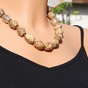 Landschaftsjaspis Kette mit großen Steineperlen Nuggets-Halskette