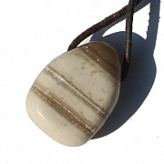 Aragonite white / light gray stone pendant 25 / 30mm