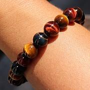 Tigerauge Gold mit rotem und blaue Tigerauge Perlen 8 mm A