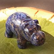 Sodalite Hippo Hippopotamus Carving 50mm