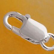 Sehr großer Silber Verschluss Karabiner Lobster echt Silber 925, 18 mm ohne Ring
