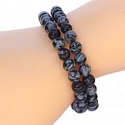 Schneeflocken Obsidian Armband 6mm Obsidianperlen