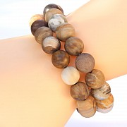 Petrified Wood Bracelet 10mm Matt Beads